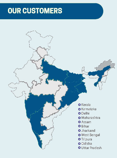 Our SANS SMART HRMS Customers Over India. States are Kerala, Karnataka, Delhi, Maharashtra, Assam, Bihar, Jharkand, West Bengal, Tripura, Odisha, Uttar Pradesh based on real Branch Locations using SANS SMART HRMS